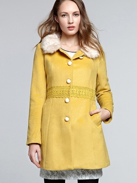 Ericdress Color Block Single-Breasted Slim Coat
