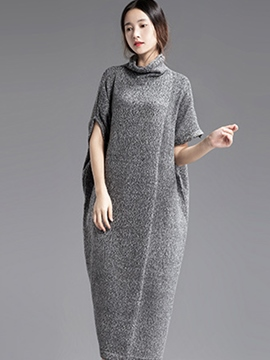 Ericdress Solid Color Heap Collar Loose Maxi Dress