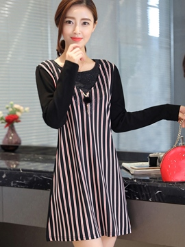 Ericdress Double-Layer Strip Patchwork Casual Dress