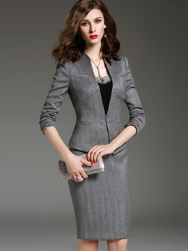 Ericdress Solid Color Slim Knee-Length Bodycon Formal Suit