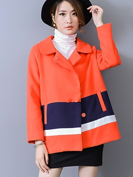Ericdress Color Block Plus Size Loose Coat