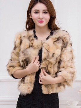 Ericdress Color Block Loose Faux Fur Coat