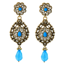 Ericdress Elegant Blue Flower Earrings