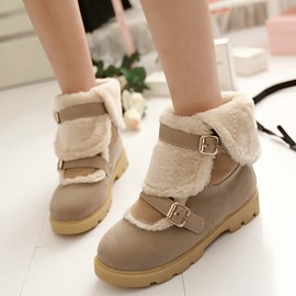 Ericdress Patchwork Buckles Round Toe Ankle Boots