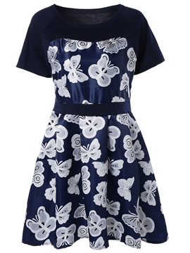 Ericdress Butterfly Print Patchwork Casual Dress