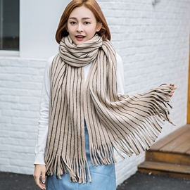 Ericdress Simple Stripe All-Matched Tassels Scarf
