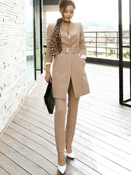 Ericdress OL Belt Solid Color Blazer Suit