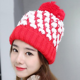 Ericdress White Grid Design Women's Knitted Hat