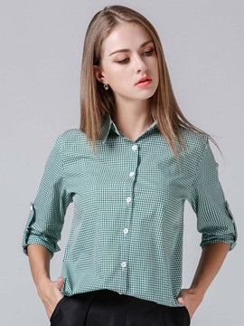 Ericdress Plaid Single-Breasted Casual Blouse