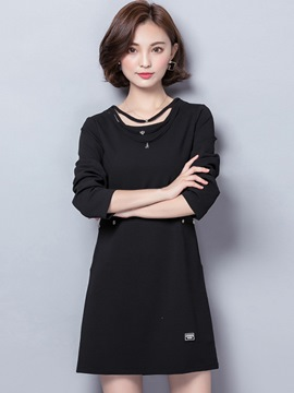 Ericdress Belt Patchwork Round Collar Pocket Casual Dress