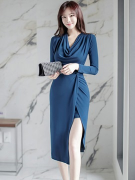 Ericdress Heap Collar Pleated Split Sheath Dress