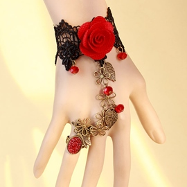 Ericdress Red Rose Embellished Lace Bracelet