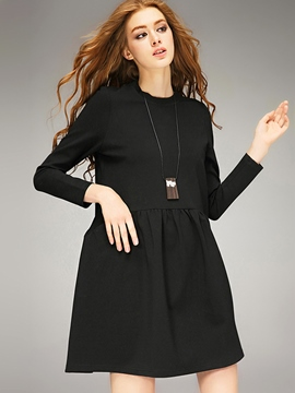 Ericdress Plain Round Collar Pleated Casual Dress