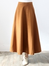 Ericdress Solid Color Pleated High-Waist Expansion Maxi Skirt