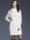 Ericdress England Turtleneck Weave Above Knee Sweater Dress