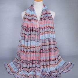 Ericdress High Quality Voile Printed Women's Fringed Scarf
