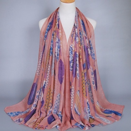 Ericdress Colorful Feather Printed Cotton Scarf