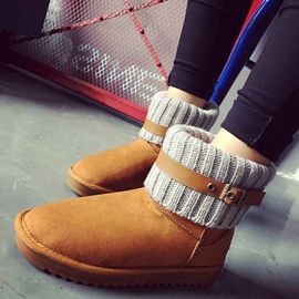 Ericdress Kintting Patchwork Snow Boots