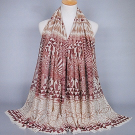 Ericdress Geometric Printed Voile Women's Fringed Scarf