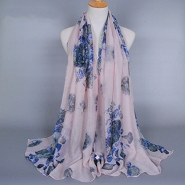 Ericdress Colorful Flowers Design Cotton Women's Scarf
