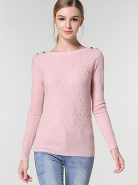 Ericdress Pink Button Detail Knitwear