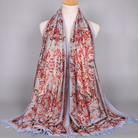 Ericdress Paisley Printed Voile Tassels Scarf