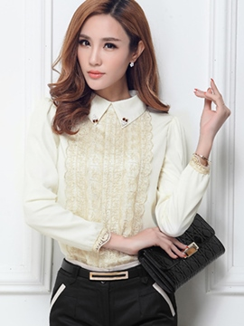 Ericdress White Lapel Pullover Blouse