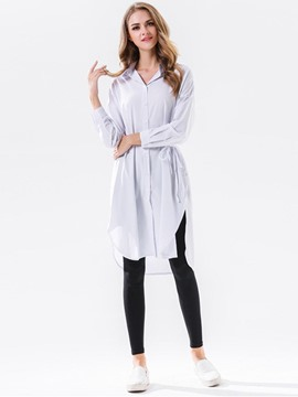 Ericdress Lace-Up Long Blouse