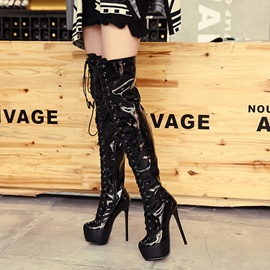 Ericdress Patent Leather Platform Lace up Thigh High Boots