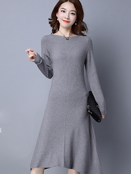 Ericdress Asymmetrical Slash Neck Knitting Sweater Dress