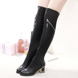 Ericdress Patchwork Zip Decorated Thigh High Boots