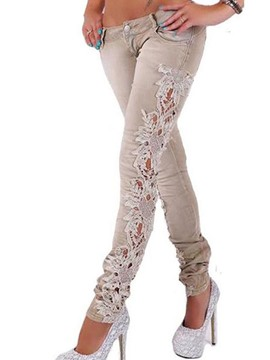 Ericdress Hollow Embroidery Lace Low-Waist Skinny Jeans
