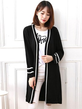 Ericdress Black Mid-Length Cardigan Knitwear