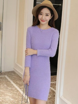 Ericdress Simple Round Collar Simple Sweater Dress
