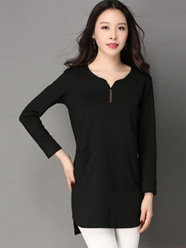 Ericdress Button Pocket Plain T-Shirt