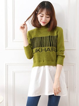 Ericdress Turtle Neck Mesh Patchwork Knitwear