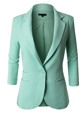 Ericdress Solid Color Asymmetric Slim Blazer