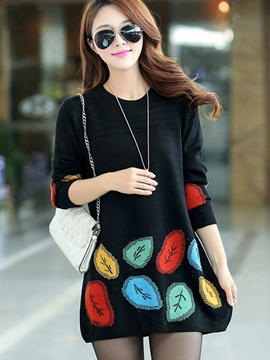 Ericdress Leave Embroidery Pullover Knitwear