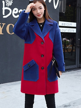 Ericdress Color Block Single-Breasted Straight Coat