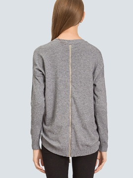 Ericdress Gray ZIpper Back Pullover Knitwear