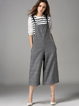 Ericdress Suspenders Loose Wide Legs Jumpsuits Pants