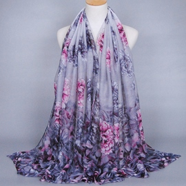 Ericdress Chinese Style Full Peony Printed Scarf