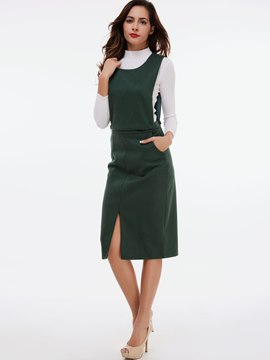 Ericdress Scoop Suspenders Split Button Sheath Dress
