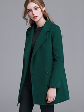 Ericdress Straight Daouble-Breasted Solid Color Coat