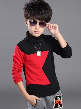 Ericdress Color BlockTurtleneck Boys T-Shirt