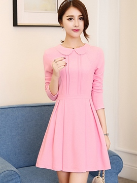 Ericdress Sweet Peter Pan Collar Pleated Patchwork Casual Dress