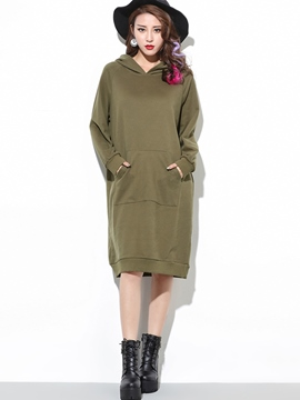 Ericdress Hooded Pocket Back Dog Print Loose Casual Dress