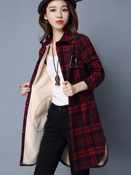 Ericdress Loose Fleece Plaid Blouse