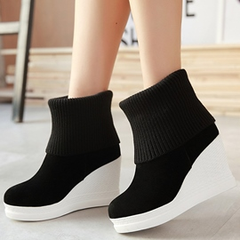 Ericdress Kintting Patchwork Wedge Heel Ankle Boots