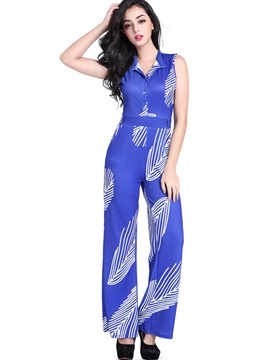 Ericdress Leaf Print Slim Jumpsuits